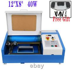 12X8 40W CO2 USB Laser Engraver Cutter Cutting Machine with Wheel+Free Gift
