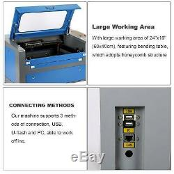 16x24/400x600mm CO2 Laser Engraver Laser Cutter 60W with Rotary USB/PC/U-flash