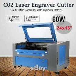 CO2 Laser Engraver Cutter 60W 16x24 with Rotary Red Dot Pointer USB/U-flash/PC