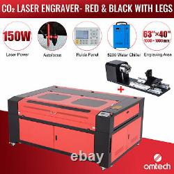 OMTech 150W 63x40in CO2 Laser Engraver Cutter Water Chiller Rotary Axis B 3 Jaw