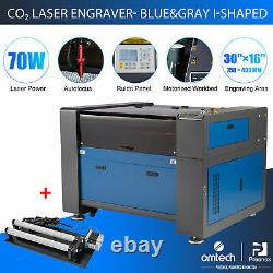 OMTech 70W 30x16in CO2 Laser Engraver Cutter Ruida Autofocus with Rotary Axis A