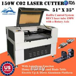 US Reci 51in x 35in 150W CO2 Laser Cutter with Auto-focus Function USB Port FDA