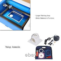 Used Laser Engraving Cutting Machine 40W USB CO2 12'' x 8'' Movable With Wheel